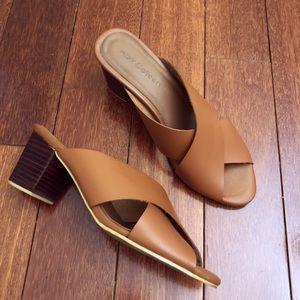 APRIL COLLEEN Tan Leather Mid Heel Slide Sandal